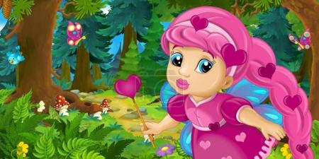 colorful fairy flying in forest