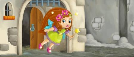 cartoon fairy flying in medieval castle