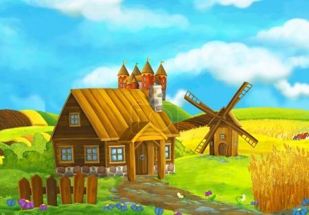 Beautifully colored farm scene