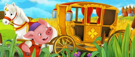 cartoon scene with royal carriage driving through pasture and cute piglet standing near, colorful illustration for children