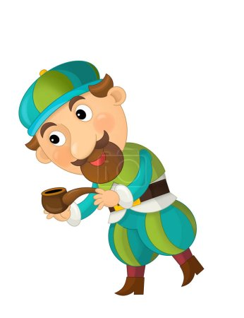 Photo for Cartoon character young palace dweller or some prince holding pipe on white background - illustration for children - Royalty Free Image
