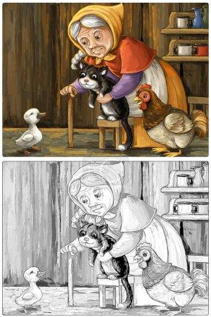 Cartoon fröhliche und lustige Bauernhofszene mit glücklicher Vogelente im Haus und einer Bäuerin Katze und Henne Skizzenbuch Illustration für Kinder
