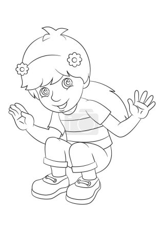 Cartoon girl sitting and smiling - coloring page - illustration for children