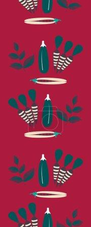 Illustration pour Reen ane légumes violets dans une bordure verticale sans couture - image libre de droit