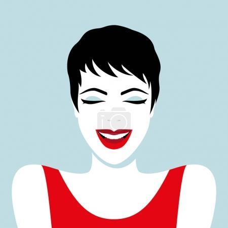 Illustration pour Illustration vectorielle de belle femme rieuse - image libre de droit