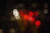 rain drops on the window with traffic bokeh light