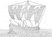 Zentangle stylized ancient greek galley