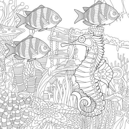 Zentangle stylized aquarium