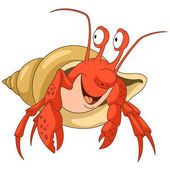 Cute and happy cartoon hermit crab with a shell isolated on white background Childish vector illustration and colorful book page for kids