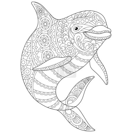 Stylized ocean dolphin animal. Freehand sketch for...