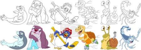 cartoon water animals set