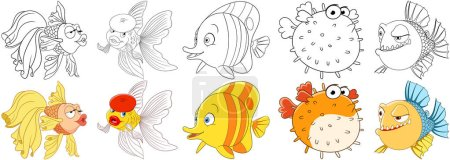 Cartoon animals set. Collection of fishes. Goldfis...
