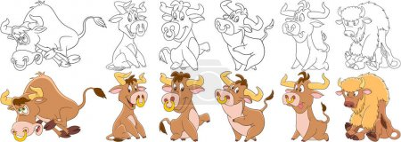 cartoon bulls set