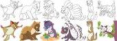 cartoon fluffy animals set