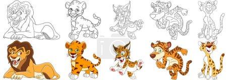 Illustration pour Animaux de bande dessinée ensemble. Collection de chats sauvages. Lion, petit tigre, chat sauvage (lynx, lynx, lynx, lynx caracal), léopard (guépard). Pages de livres à colorier pour enfants . - image libre de droit