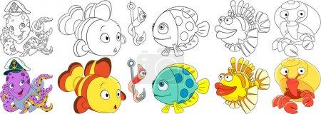 cartoon ocean fishes set