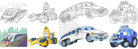 cartoon fast cars set