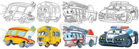 Illustration pour Ensemble de transport de bande dessinée. Collecte de véhicules. Ambulance, bus scolaire, camion de pompiers, voiture de police. Pages de livres à colorier pour enfants . - image libre de droit