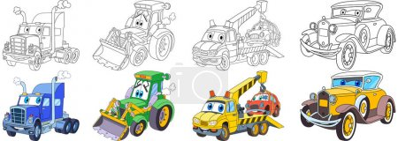 Illustration for Cartoon transport set. Collection of vehicles. Heavy semi truck (trailer, lorry), tractor (bulldozer), tow truck (evacuator), luxury retro old car. Coloring book pages for kids. - Royalty Free Image