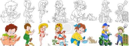 cartoon farm people set