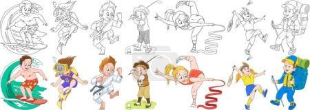 cartoon sportive children set
