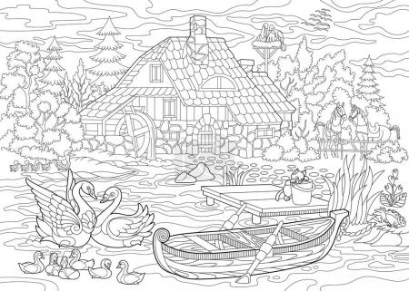 Zentangle stylized rural landscape
