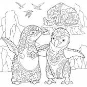 Zentangle stylized penguins and polar bears