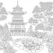 Zentangle stylized pagoda
