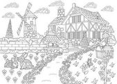 Zentangle stylized countryside mansion