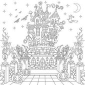 Zentangle stylized halloween castle