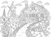 Zentangle stylized countryside mansion