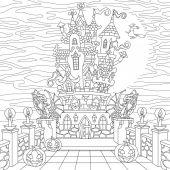 Zentangle stylized halloween castle