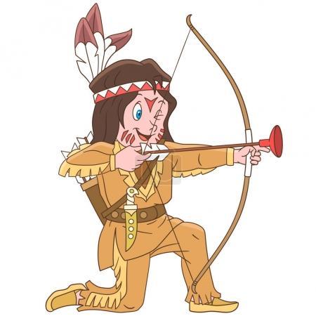 Illustration pour Les enfants dans les professions. Dessin animé indien indien garçon avec arc et flèche. Conception pour livre à colorier pour enfants . - image libre de droit