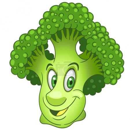 Illustration pour Caricature Brocoli personnage. Tête de fleur verte de chou. Joyeux symbole de légumes. Icône Eco Food. Élément de design pour enfants livre à colorier, page à colorier, impression de t-shirt, logo, étiquette, patch ou autocollant . - image libre de droit