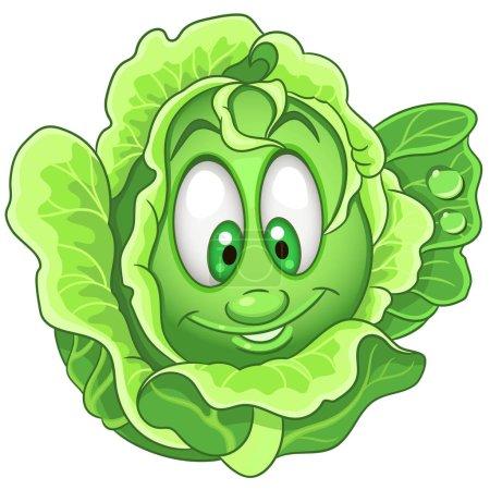 Illustration pour Caricature Chou caractère. La laitue iceberg. Joyeux symbole de légumes. Icône Eco Food. Élément de design pour enfants livre à colorier, page à colorier, impression de t-shirt, logo, étiquette, patch ou autocollant . - image libre de droit