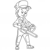 Coloring page Cartoon Lumberjack with petrol chain saw Design for kids coloring book
