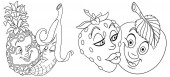 Coloring pages Cartoon Fruits in Love Lovely kiss Emoticons Emoji for Valentines Day