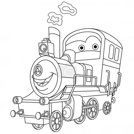 Illustration for Coloring page. Coloring picture of cartoon steam train locomotive. Childish design for kids activity colouring book about transport. - Royalty Free Image