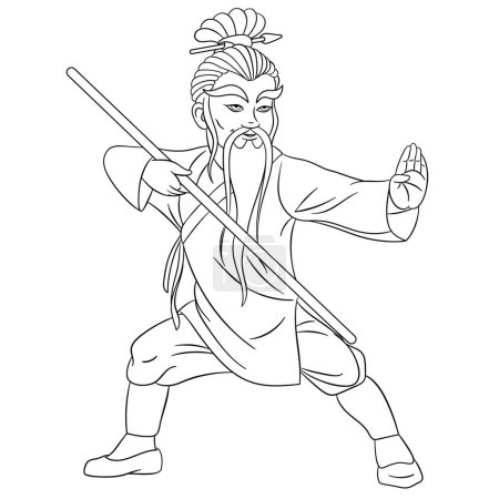 Coloring page. Coloring picture of cartoon shaolin...