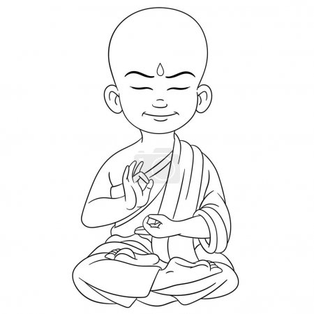 Coloring page. Coloring picture of cartoon young b...