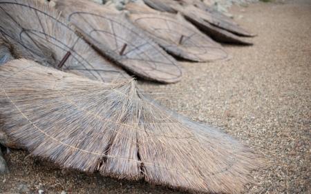 Photo pour Lynx inversé des parasols se trouvent sur une plage déserte - image libre de droit