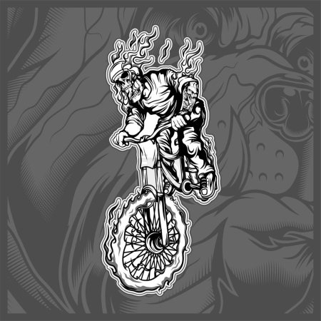 Illustration for Skull riding a bicycle hand drawing vector - Royalty Free Image