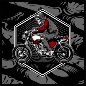skull wearing a helmet riding an old motorcyclevector