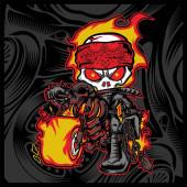 skull rider fire motor bikersHand drawingIsolatedEasy to edit
