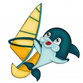 Windsurfing with dolphin  Cartoon style Clip art for children Isolated image on white background