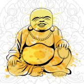 Laughing Buddha or Hotei sitting Vector illustration