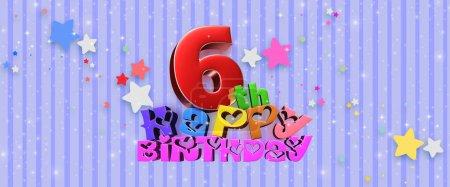 Photo pour Joyeux anniversaire 6 ème illustration 3d fond bleu avec des étoiles scintillantes . - image libre de droit