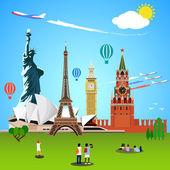 World landmarks concept Vector illustration for travel design