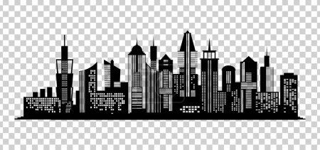 Illustration for Cityscape black icon on transparent background. Skyline silhouette. Town architecture skyscrapers. Urban city landscape. Megapolis panorama. Vector new york building illustration - Royalty Free Image