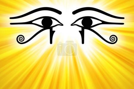 Photo pour Yeux d'Horus avec des rayons de soleil dorés du centre supérieur. Wedjat, l'ancien symbole égyptien de protection, le pouvoir royal et la bonne santé de la déesse Wadjet. Semblable aux yeux du dieu Rê. Illustration . - image libre de droit